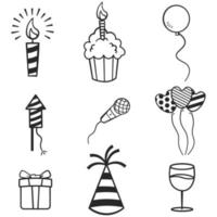Vector set of hand drawn birthday party sketches