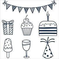 Dibujado a mano ilustración de doodle sobre tema de cumpleaños vector