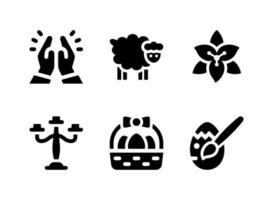 Simple Set of Easter Related Vector Solid Icons. Contains Icons as Candelabra, Easter Basket, Painted Egg, Praying and more