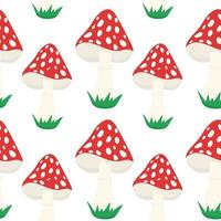 Seamless background with amanita. A repeating pattern with red poisonous mushrooms. Vector. vector