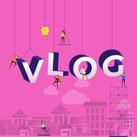 Team hard at work constructing the word VLOG vector
