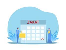 muslim man pay zakat from profit on ramadan kareem vector