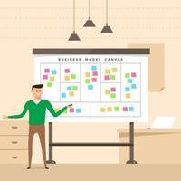 Man presents a whiteboard with business model information vector
