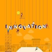 equipo trabajando duro para construir la palabra innovación