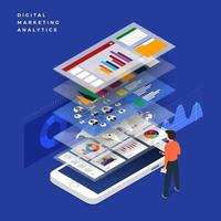 Financial review with mobile phone and infographic elements. Vector illustration