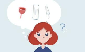 Choice menstrual cycle, tampon,  female pad, menstrual cup. Girl choosing between tampon and menstrual cup. Vector illustration for blog, site flat cartoon style