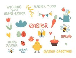 Set of cute Easter cartoon characters and design elements. Easter lettering, chicken, eggs and flowers. Vector illustration.