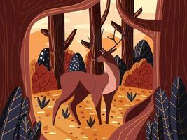 Colorful illustration portrait of beautiful red deer stag in forest at sunrise. Hand drawn wild animal. Vector. vector