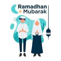 Ramadhan Mubarak con personajes de diseño plano niño y niña musulmana ilustración vector plantilla de fondo