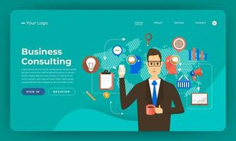 Website mockup for business consulting services vector