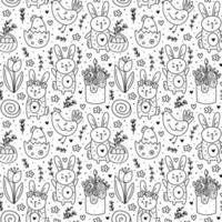 Happy Easter holiday doodle monochrome line art. Rabbit, bunny, cake, chicken, egg, hen, flower. Seamless pattern, texture. Packaging design. Isolated on white background. vector