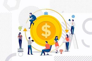 Teamwork on return on investment vector