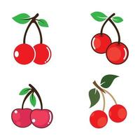 conjunto de imágenes de logo de cereza vector