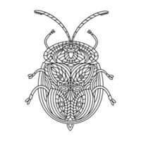 Beetle golden turtle coloring book. Tortuga beetle linear vector illustration. Anti-stress coloring book for adults and children. A hand-drawn coloring book for doodles.