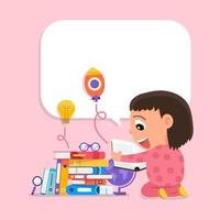 Happy kids enjoying reading and learning with books vector