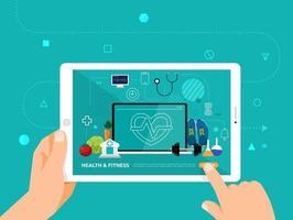 educación en línea usando una tableta vector