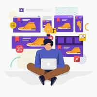 Illustration flat design concept, web or application designer sitting working with laptop vector