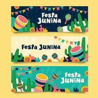 Festa Junina Flat Banner Collection vector