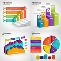 Plantilla de colección de infografía 3d vector