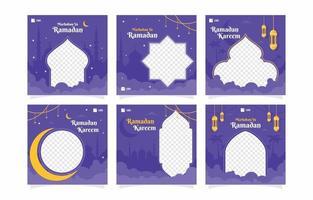 Purple Ramadhan Kareem Social Media Template vector