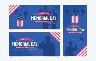 Happy Memorial Day Banner Set vector