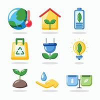 Ecology Icon Set in Flat Design vector