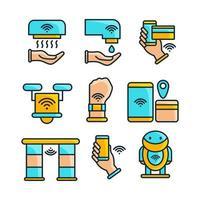 conjunto de iconos de tecnología de apoyo