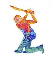 Abstract batsman playing cricket from splash of watercolors. Vector illustration of paints
