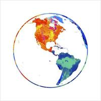 Abstract planet Earth from splash of watercolors. World map globe. Vector illustration of paints