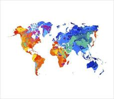 Abstract world map from splash of watercolors. Vector illustration of paints