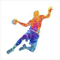 jugador de balonmano abstracto saltando con la pelota de salpicaduras de acuarelas. ilustración vectorial de pinturas vector