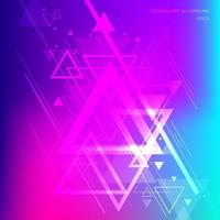 Abstract technology futuristic geometric triangles overlapping on vibrant gradient background. vector