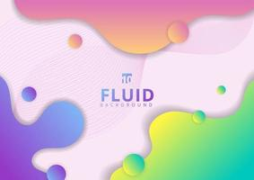 Abstract colorful fluid flow shapes circles and wave lines elements background. vector