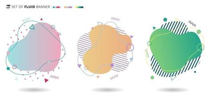 Set of banner colorful modern fluid shapes with geometric elements. Liquid design gradient waves. vector