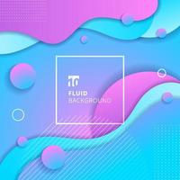 Abstract blue and pink gradient color fluid flow shapes circles elements background. vector