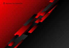 Abstract technology template geometric diagonal overlapping separate contrast red and black background. vector