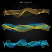 Abstract blue and yellow smooth waves lines elements on black background. vector