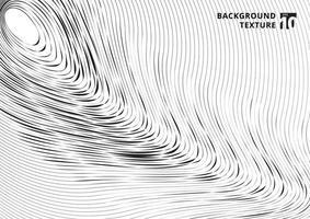 Patrón de líneas curvas de rayado negro abstracto sobre fondo blanco y textura. vector