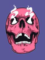 cráneo de estilo pop art con ojos humeantes vector