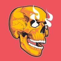 Pop Art Style Skull With Smoking Eyes vector