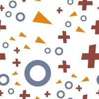 Flat vector texture of geometric colorful shapes. Geometric figures pattern in modern hipster style. Abstract background with blue circles, brown crosses and orange triangles