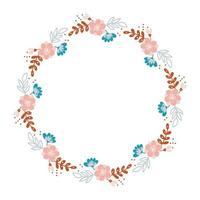 Summer flower herb wreath scandinavian style. Spring Flat abstract vector garden frame, woman day romantic holiday, wedding invitation card decoration.