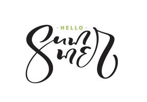 Calligraphy lettering brush composition text Hello Summer. Vector Hand Drawn Isolated phrase.