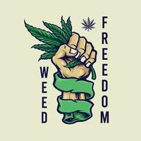 Weed Freedom Vintage mascot Illustrations vector
