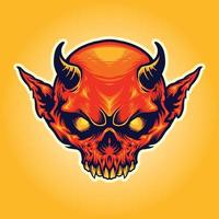 Head Horn Red Devil Mascot Illustrations vector