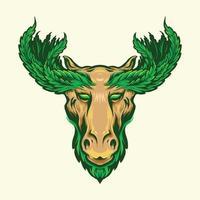 Deer with Marijuana Leaf Antlers Design Mascot vector