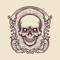 Vintage Frame Skull Engraving vector