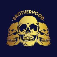 Brotherhood Gold Skull Illustrations vector