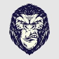 ilustraciones de cabeza de gorila enojado vector