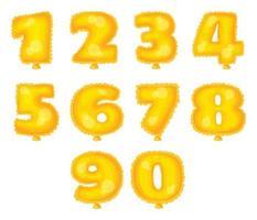 gold foil balloons number set vector
